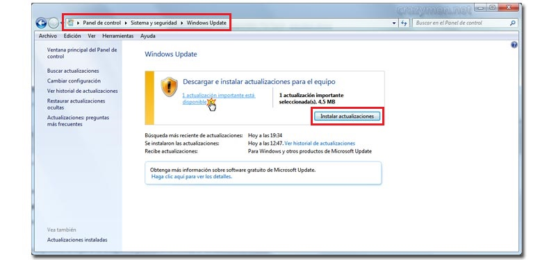 actualizacion windows 7 primer paso